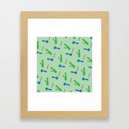 Bongs, Blunts, Joints Pattern Green Framed Art Print