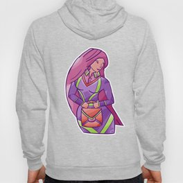Secretary with Pink Hair Holding Suitcase Hoody