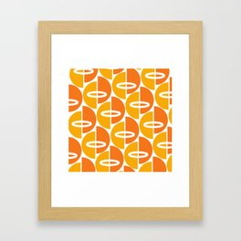 Mid Century Modern Orange Gold Framed Art Print