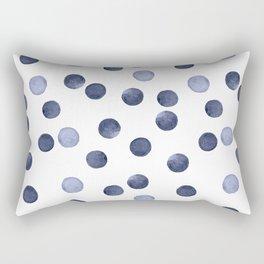Watercolor . Dark blue polka dot . Rectangular Pillow