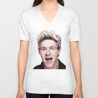 niall horan V-neck T-shirts featuring Niall Horan - One Direction by jrrrdan