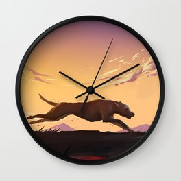 Running at sunset Wall Clock