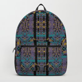 Geometric Stained Glass - 80s Marigold, Turquoise & Magenta Pattern on Black by artestreestudio Backpack