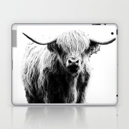 Newspaper Print Style Highland Cow. Scotland, Bull, Horns. Laptop & iPad Skin