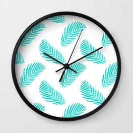 Palm Frond tropical summer watercolor painting leaf pattern house plants palm nature illustration Wall Clock