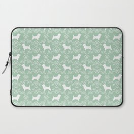 Cairn Terrier silhouette florals mint and white minimal dog breed basic dog pattern Laptop Sleeve