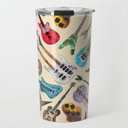 Electric Guitars Pattern Watercolor Travel Mug