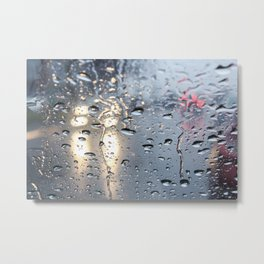 The headlights through wet glass. Metal Print