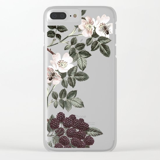 Bees + Blackberries on Pale Pink Clear iPhone Case