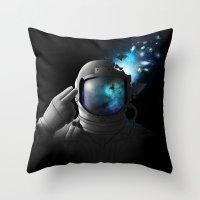 big bang Throw Pillows featuring Big Bang by angrymonk