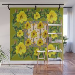 GREEN YELLOW AMARYLLIS FLOWERS BUTTERFLY FLORAL Wall Mural