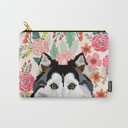 Husky floral pet portrait art print and dog gifts Carry-All Pouch