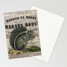 french country scripts fall autumn woodland animal grey squirrel Stationery Cards