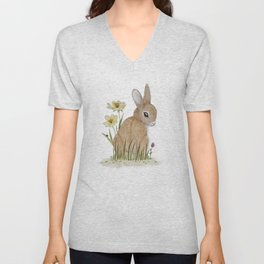 Rabbit Among the Flowers Unisex V-Neck