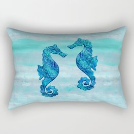 Blue Seahorse Couple Underwater Rectangular Pillow
