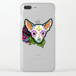 Chihuahua in White - Day of the Dead Sugar Skull Dog Clear iPhone Case