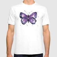 Purple Butterfly Watercolor Abstract Animal Art White Mens Fitted Tee MEDIUM
