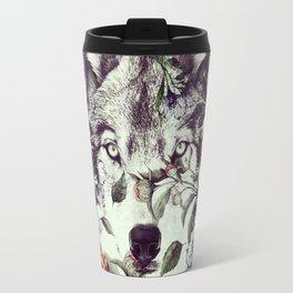 Floral Wolf Travel Mug