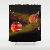 solar system Shower Curtains featuring solar system I by donphil