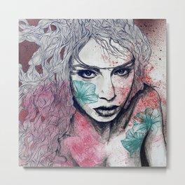No Hope In Sight: Purple (tattoo girl portrait) Metal Print