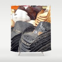 hats Shower Curtains featuring Cowboy Hats by Tiffany Dawn Smith