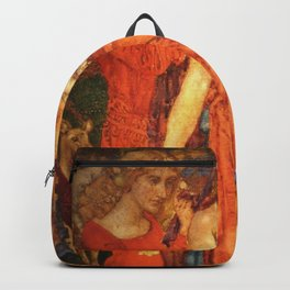 The Mirror of Time, Age, & Youth renaissance portrait painting tapestry No.2 by Noël Laura Nisbet Backpack