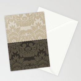 Brown and Tan Faux Linen Damask Stationery Cards