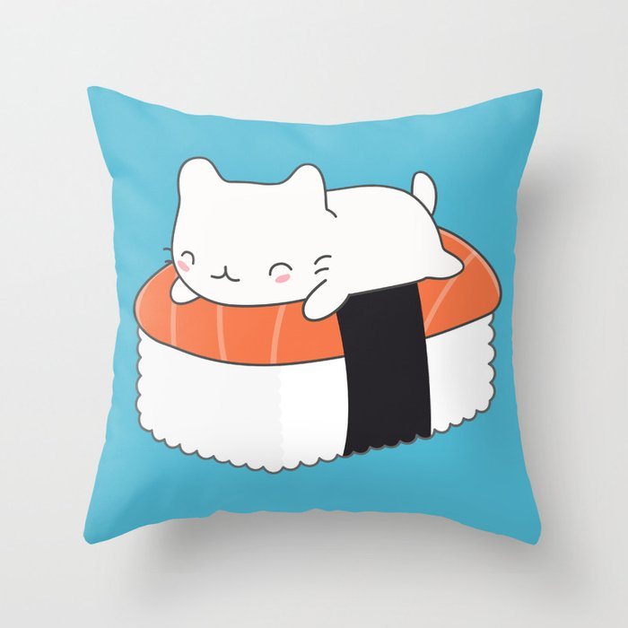 Kawaii Cute Sushi Cat Throw Pillow by wordsberry Society6