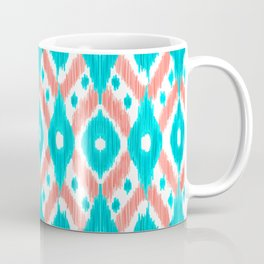 Artsy Coral Teal Abstract Ikat Geometric Pattern Coffee Mug