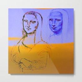 Mona Yellow&Blue Metal Print