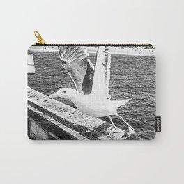 Seagull Taking Flight B&W // California West Coast Pier Vibes Beach Ocean Surf City USA Carry-All Pouch
