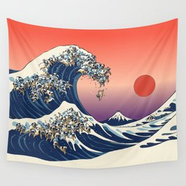 The Great Wave of Pugs / Square Wall Tapestry