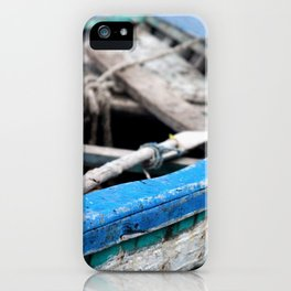 Rustic Wooden Turquoise Boat iPhone Case