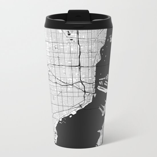 Miami Map Gray Metal Travel Mug