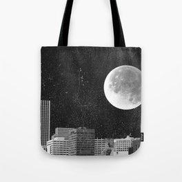 Full Moon Over Portland Oregon Skyline Tote Bag