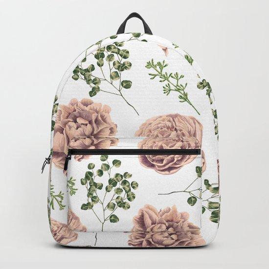 Roses Pattern on White Backpack
