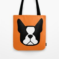 boston terrier Tote Bags featuring Boston Terrier by smooshfaceunited
