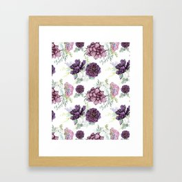 Succulents Deep Violet Lavender Pastel Green Lilac PatternSee Nature Magick for more pretty pastel c Framed Art Print