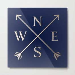 Gold on Navy Blue Compass Metal Print