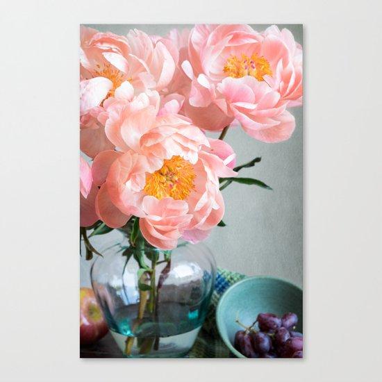 Peachy Peonies Canvas Print