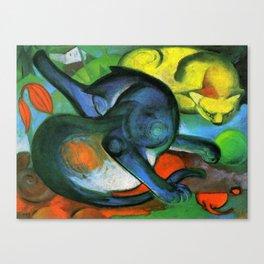 Franz Marc - Zwei Katzen - Blau und Gelb - Two Cats - Blue and Yellow Canvas Print