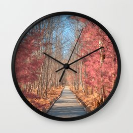 Jesup Boardwalk Trail - Tickle Me Pink Wall Clock