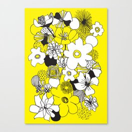 Floral Medley - Yellow Canvas Print
