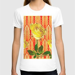 GRAPHIC YELLOW ROSE GARDEN ON RED ART DECO T-shirt