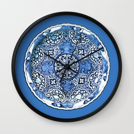 Antique Chinese Porcelain Plate, Cobalt Blue and White Wall Clock