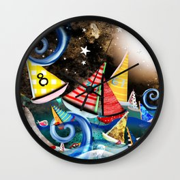 Night Sailing - Aurora Art Moonlight Stars Night Wall Clock
