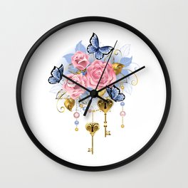 Pink Roses with Keys Wall Clock