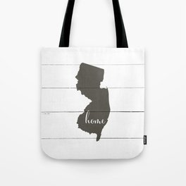 New Jersey is Home - Charcoal on White Wood Tote Bag