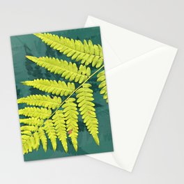 From the forest - lime green on teal Stationery Cards