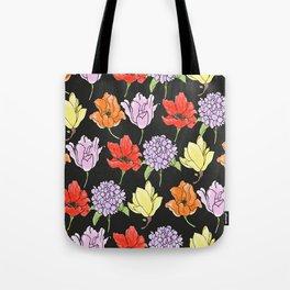 dark crowded floral Tote Bag